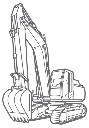 navvy: Vector outline illustration of a excavator. isolated Illustration