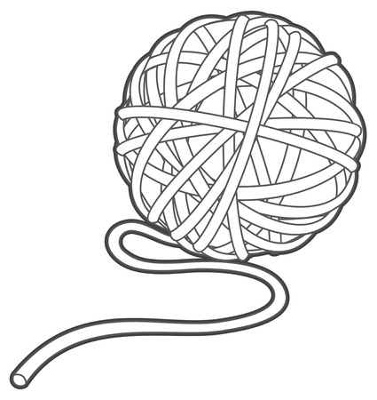 ball of yarn vector outline illustration isolated