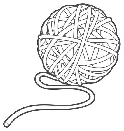 bola de hilo de la ilustración del vector esquema aislado