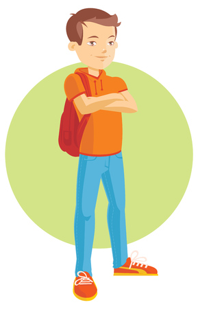 teenage boy: Vector flat Illustration of a Teenage Boy Illustration