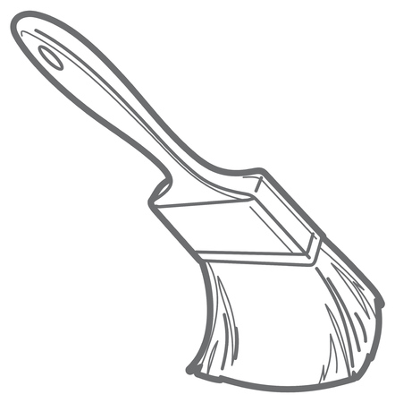 Vector outline illustration with a Paint brush