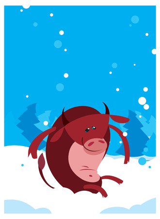 funny ox: The Red vector flat funny Ox Bull winter background