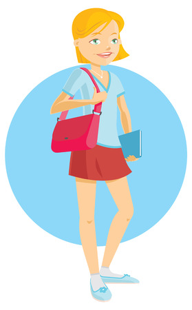 nerdy: Cute teenage girl student ready to go back to school Illustration