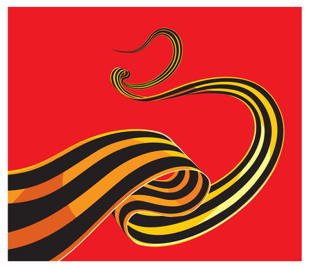 George ribbon may 9 in Russia. Vector ribbon of Saint George. 9 May 1941-1945. Victory day. Russian holiday design with Saint George ribbon. Red star. Holiday background. Red army holiday. USSR Russia Illustration