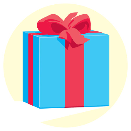blue gift box: Blue gift box with a red ribbon and a bow. Vector illustration