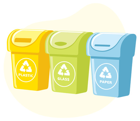 segregation: Different colored recycle waste bins vector illustration, Waste types segregation recycling. plastic, paper, glass waste.