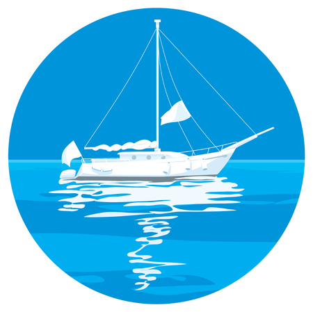 open sea: Sailing ship yachts with white sails in the open Sea. Luxury boats.Vector illustration