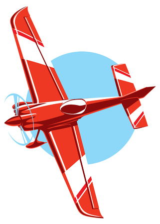 propeller: Vector red sport plane with propeller. small airplane