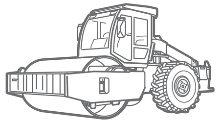 roller: Road Roller illustration isolated outline. Asphalt paver Illustration