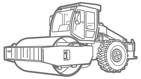 asphalt paving: Road Roller illustration isolated outline. Asphalt paver Illustration