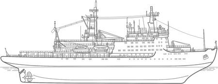 breaker: Vector outlone plan of the atomic Icebreaker ship. side view