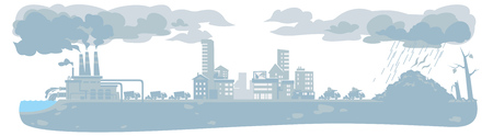 asthma inhaler: Vector urban ecology concept or background with cityscape and smoke clouds