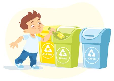 Wektorowa ilustracja chłopiec przetwarza śmieciarską butelkę troszkę