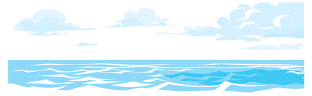 horizon reflection: vector illustration of clouds in a sky over water. background