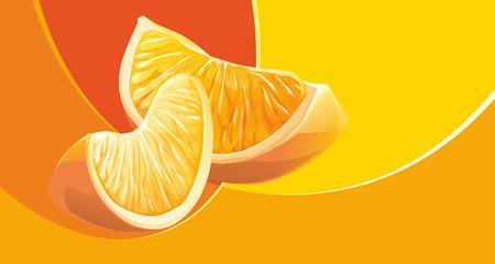 Realistic illustration slice of orange fruit on abstract background Stock Photo