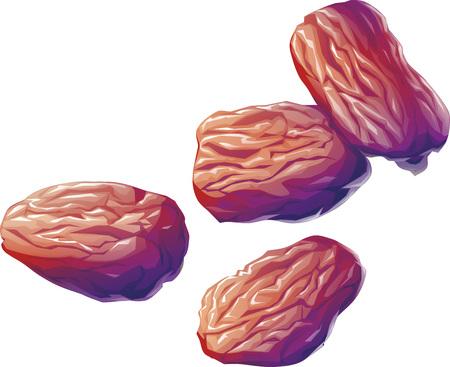 heap: illustration of heap of raisins on white background Stock Photo