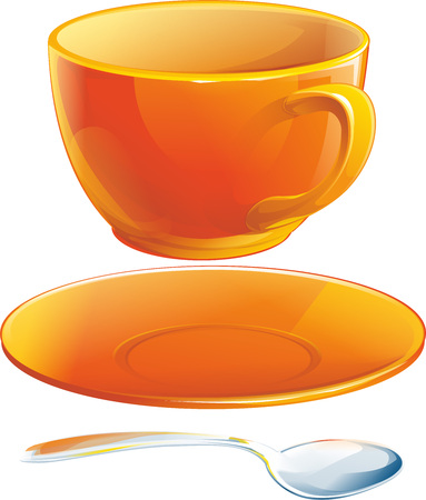 teaspoon: Realistic orange cup with saucer and teaspoon isolated illustration