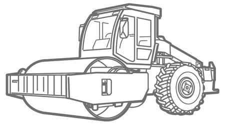 Road Roller illustration isolated outline. Asphalt paver Stock Photo