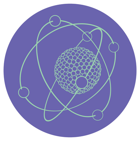 illustration of model atom nucleus with electrons.