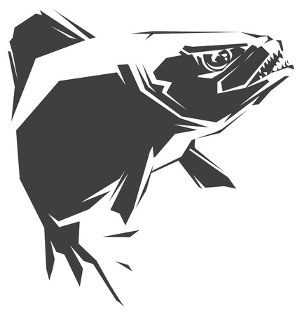frenzy: illustration with a black fish Piranha