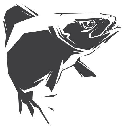 Ilustración con una piraña pez negro