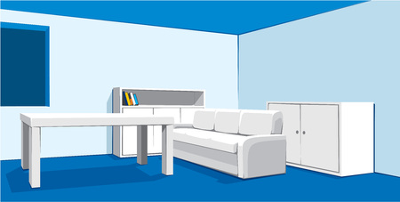 white sofa: interior of living room with white sofa Illustration