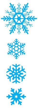 varied: set of simple varied geometric snowflakes Illustration