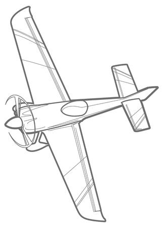 line Sport Flugzeug mit Propeller. Kleinflugzeug