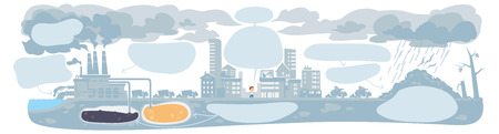 carcinogen: urban ecology concept or background with cityscape and smoke clouds.infographic template Stock Photo