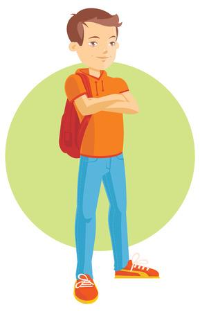 back view student: flat Illustration of a Teenage Boy