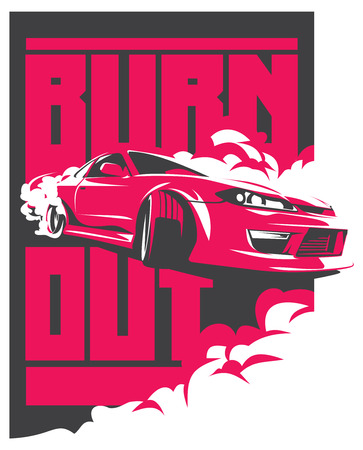 drift: Burnout car, Japanese drift sport car, JDM, racing team, turbocharger, tuning.