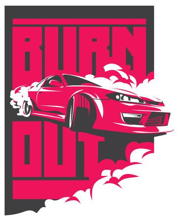 Burnout car, Japanese drift sport car, JDM, racing team, turbocharger, tuning.