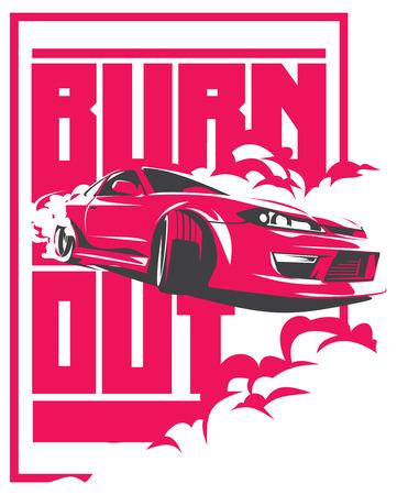 バーンアウトの車、日本のドリフト スポーツ車、JDM、レーシング チーム、ターボチャー ジャー、チューニングします。  イラスト・ベクター素材