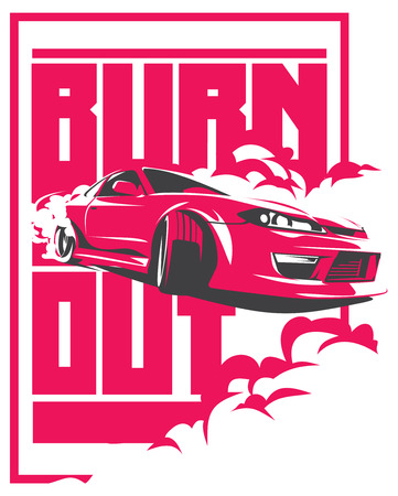 Burnout car, Japanese drift sport car, JDM, racing team, turbocharger, tuning.