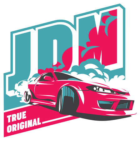 バーンアウトの車、日本のドリフト スポーツ車、JDM、レーシング チーム、ターボチャー ジャー、チューニングします。 写真素材 - 64963332