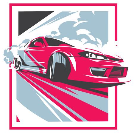 coche de agotamiento, el coche deportivo japonés deriva, JDM, equipo de carreras, turbocompresor, la sintonización. Ilustración de vector