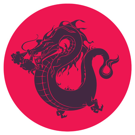 Japanece dragon icon. in one color on red background