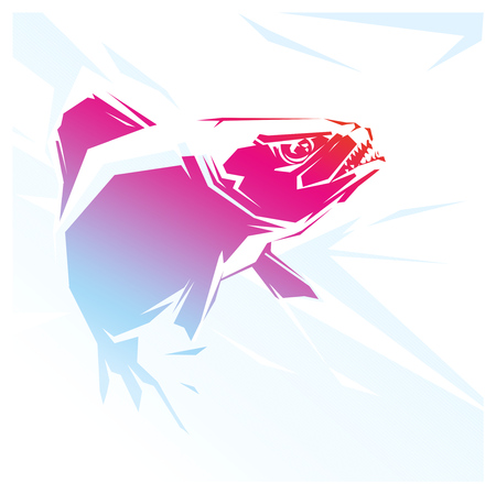 frenzy: illustration with a red fish Piranha. predator Stock Photo
