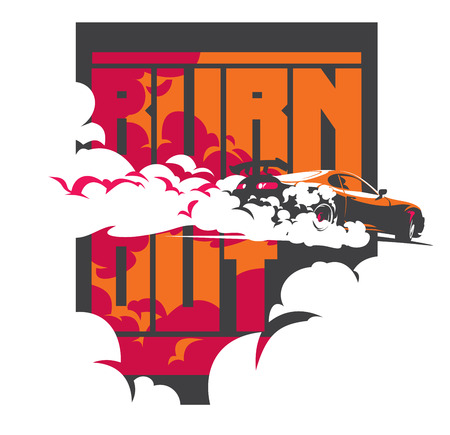 drift: Burnout car, Japanese drift sport car, Street racing, JDM, racing team, turbocharger, tuning. Vector illustration for sticker, poster or badge