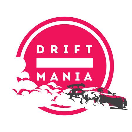 Burnout car, Japanese drift sport car, Street racing, JDM, racing team, turbocharger, tuning. Vettoriali