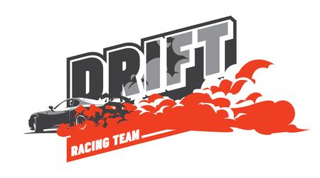 skid: Burnout car, Japanese drift sport car, Street racing, JDM, racing team, turbocharger, tuning. Illustration