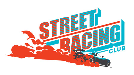 Burnout car, Japanese drift sport car, Street racing, JDM, racing team, turbocharger, tuning. Illustration