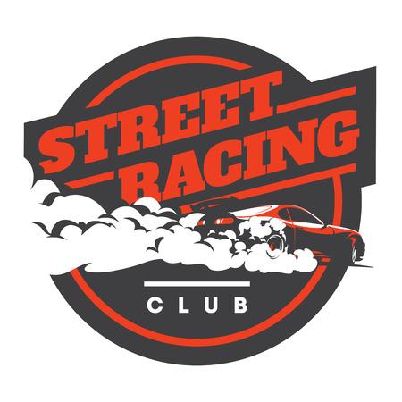 Burnout car, Japanese drift sport car, Street racing, JDM, racing team, turbocharger, tuning.  イラスト・ベクター素材