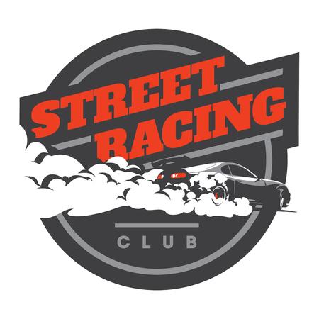 バーンアウト車, 日本ドリフト スポーツ車, 通りのレース, JDM、レーシング チーム、ターボチャー ジャー、チューニングします。  イラスト・ベクター素材
