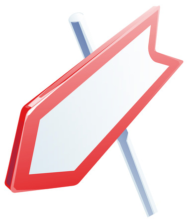 outdoor blank billboard: red road sign, realistic icon. arrow signpost. isolated on white