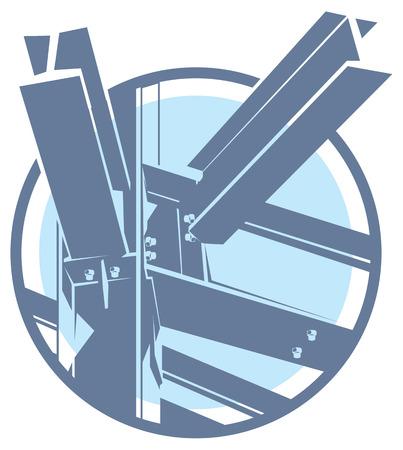 engineering icon: metal construction frame monochromatic icon. building framework
