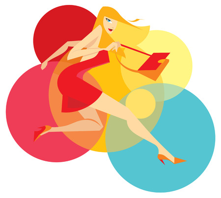interjection: Running blondie lady in ged with color background
