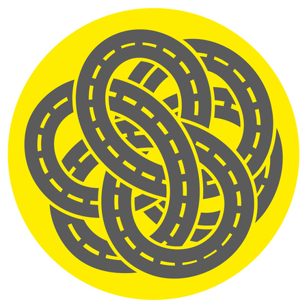 arterial: icon of a tagled road markings. road junction