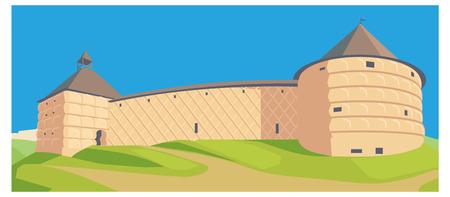 illustration Castle Surrounding Wall Stone Fort. fortness Stock Photo