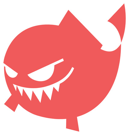 Angry fish in cartoon style isolated icon